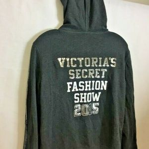 VICTORIAS SECRET WOMEN HOODIE SMALL GRAY EUC BLING